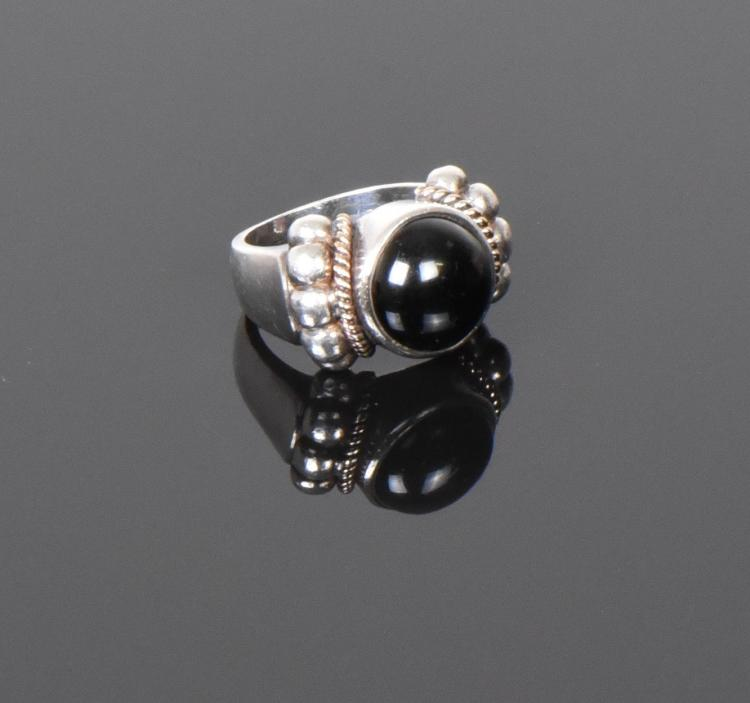 Vintage Onyx Sterling Silver Ring with 14k Gol
