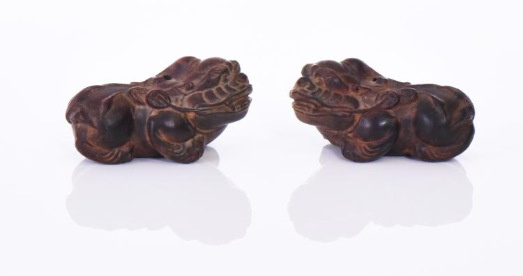 Two Foo Dog Netsukes Carved From Wood, Edo Per