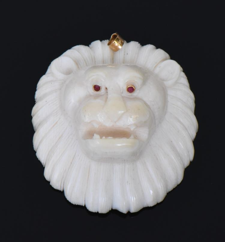 Antique Carved Bone Lion Head Pendant with Rub