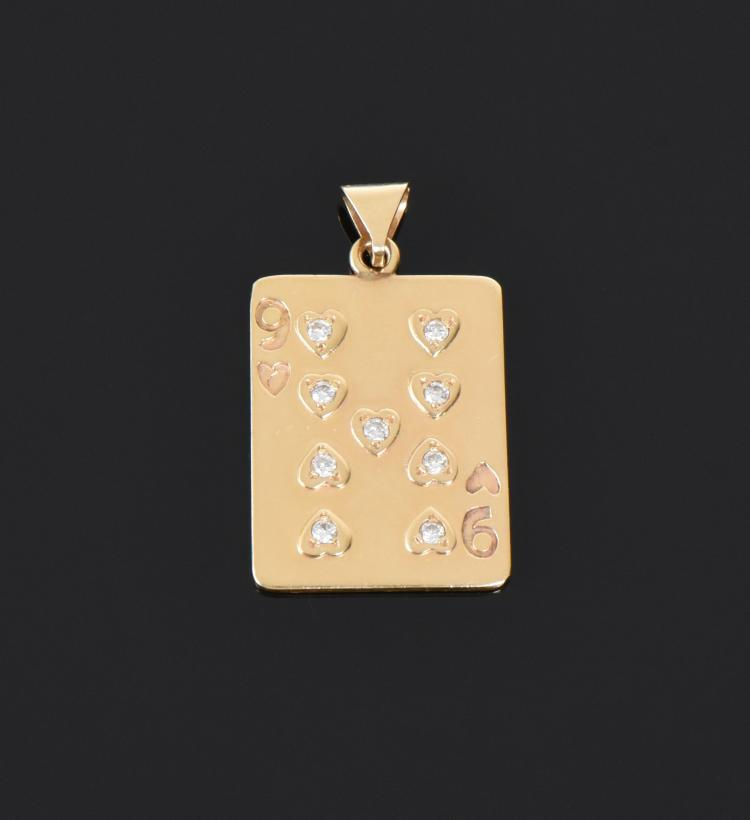 14k Nine Of Hearts Playing Card Pendant With D