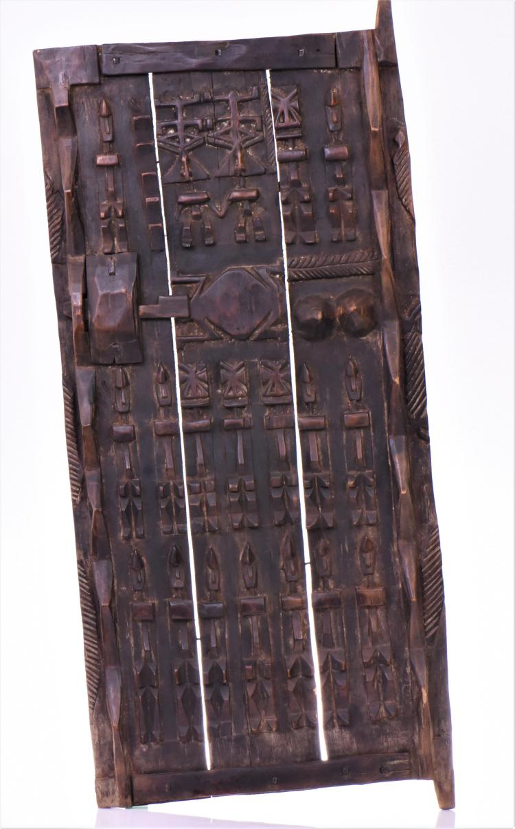 Antique African Dogon Granery Door Carved From