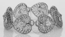 Victorian Style Filigree Heart Bracelet w/ Diamond - Sterling Silver #98040v2