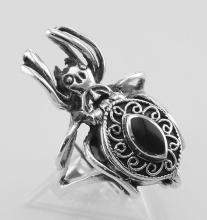 Spider Poison Ring w/ Onyx - Secret Compartment - Sterling Silver #97911v2
