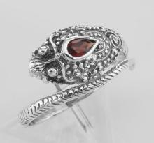 Genuine Red Garnet Cobra Ring - Sterling Silver #97931v2
