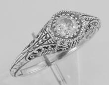 Classic Victorian Style CZ Filigree Ring - Sterling Silver #98113v2