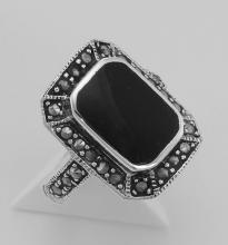 Onyx and Marcasite Ring - Sterling Silver #97914v2