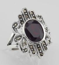 Antique Style Genuine Red Garnet and Marcasite Ring - Sterling Silver #97923v2