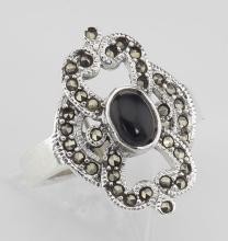 Antique Style Black Onyx and Marcasite Ring - Sterling Silver #97913v2