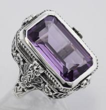 5.5 Carat Amethyst Filigree Ring - Sterling Silver #98106v2
