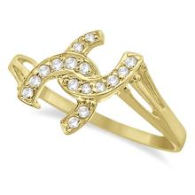 Double Horseshoe Diamond Ring in 14K Yellow Gold (0.10ct) #21156v3