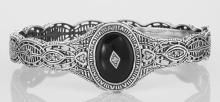 Victorian Style Filigree Black Onyx / Diamond Bangle Bracelet - Sterling Silver #98049v2
