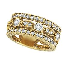 Antique Style Eternity Diamond Anniversary Ring 18k Yellow Gold (2.08ct) #20751v3