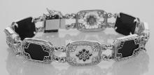 Victorian Style Bracelet Onyx / Camphor Glass Diamond Sterling Silver #98043v2