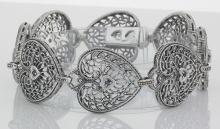 Victorian Style Filigree Heart Bracelet w/ Blue Sapphire in fine Sterling Silver #98042v2