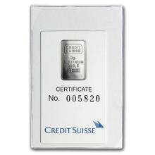 2 gram Platinum Bar - Credit Suisse (In Assay) #75653v3
