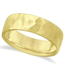 Men's Hammered Finished Carved Band Wedding Ring 18k Yellow Gold (7mm) #21268v3