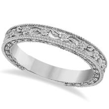 Carved Floral Designed Wedding Band Anniversary Ring in 14K White Gold #21314v3