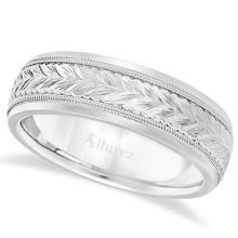 Hand Engraved Wedding Band Carved Ring in 14k White Gold (4.5mm) #21316v3