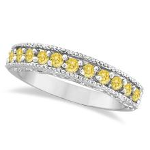Fancy Yellow Canary Diamond Ring Band 14k White Gold (0.50ct) #PAPPS21059