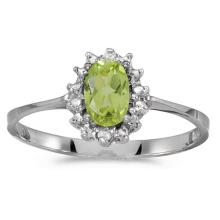 Certified 10k White Gold Oval Peridot And Diamond Ring 0.42 CTW #PAPPS51263