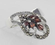 Antique Style Genuine Red Garnet and Marcasite Ring - Sterling Silver #PAPPS97939