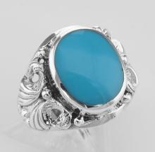 Classic Turquoise Ring with Butterfly Side Design - Sterling Silver #PAPPS97951