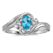Certified 10k White Gold Oval Blue Topaz And Diamond Ring 0.7 CTW #PAPPS51053