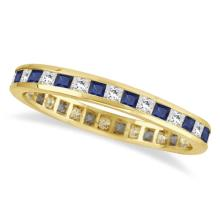Princess-Cut Sapphire and Diamond Eternity Ring 14k Yellow Gold (1.26ct) #PAPPS21003