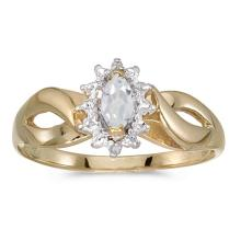 Certified 10k Yellow Gold Marquise White Topaz And Diamond Ring 0.29 CTW #PAPPS50608