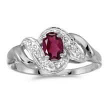 Certified 14k White Gold Oval Rhodolite Garnet And Diamond Swirl Ring 0.5 CTW #PAPPS51210