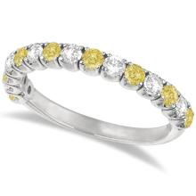 Yellow Canary and White Diamond Anniversary Band 14k White Gold (1.00ct) #PAPPS21135