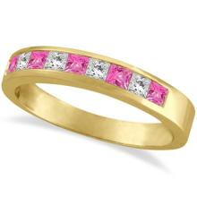 Princess Channel-Set Diamond and Pink Sapphire Ring Band 14k Yellow Gold #PAPPS20995