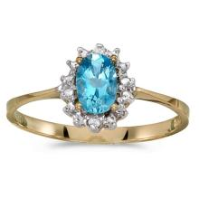 Certified 14k Yellow Gold Oval Blue Topaz And Diamond Ring 0.42 CTW #PAPPS51194