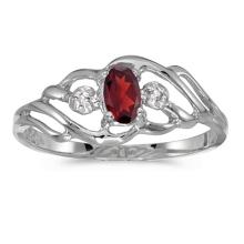 Certified 10k White Gold Oval Garnet And Diamond Ring 0.24 CTW #PAPPS51205