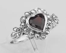 Heart Shaped Garnet Colored CZ Gemstone Ring - Sterling Silver #PAPPS97919