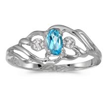 Certified 14k White Gold Oval Blue Topaz And Diamond Ring 0.2 CTW #PAPPS51049
