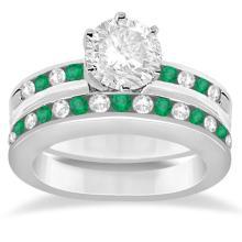 Semi-Eternity Emerald & Diamond Bridal Set Platinum (1.96ct)  #PAPPS20990
