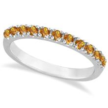 Citrine Stackable Band Anniversary Ring Guard 14k White Gold (0.38ct) #PAPPS21154