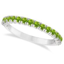 Half-Eternity Pave-Set Peridot Stacking Ring 14k White Gold (0.95ct) #PAPPS21081