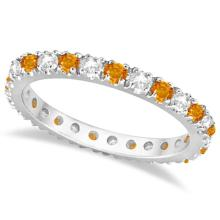 Diamond and Citrine Eternity Ring Guard Band 14K White Gold (0.64ct) #PAPPS21116