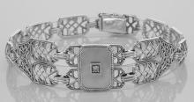 Victorian Style Mother of Pearl Filigree Link Bracelet Sterling Silver #PAPPS98038