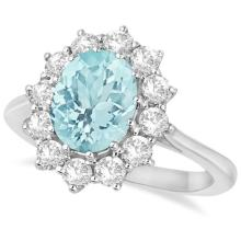 Oval Aquamarine and Diamond Accented Ring in 14k White Gold (3.60ctw) #20986v3