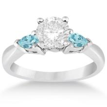 Pear Cut Three Stone Aquamarine Engagement Ring 14k White Gold (0.50ct) #20979v3