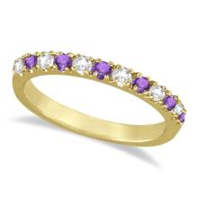 Diamond and Amethyst Band Stackable Ring Guard 14k Yellow Gold (0.32ct) #21142v3