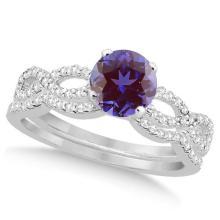 Infinity Style Alexandrite and Diamond Bridal Set 14k White Gold 1.29ct #21010v3