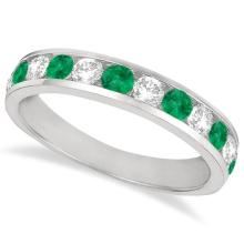 Channel-Set Emerald and Diamond Ring Band 14k White Gold (1.20ctw) #21027v3