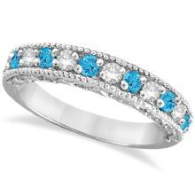 Blue Topaz and Diamond Band Filigree Ring Design 14k White Gold (0.60ct) #21137v3