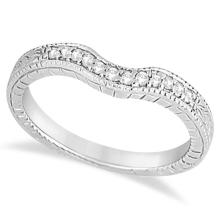 Antique Style Pave-Set Diamond Wedding Band in Palladium (0.12 ctw) #PAPPS21214