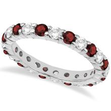 Eternity Diamond and Garnet Ring Band 14k White Gold (2.35ct) #PAPPS21345
