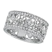 Antique Style Diamond Eternity Ring 14k White Gold  (0.66ctw) #PAPPS21237